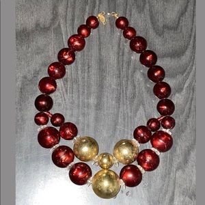VTG Cadoro Beads Gold Tone & Red Choker Necklace